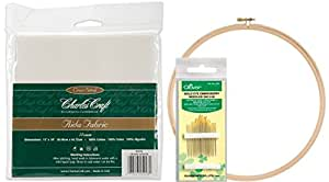SALE! Embroidery Starter Kit! DMC Classic Reserve Aida, 12 By 18-inch, White, 14 Count. Along with a Pack of 16 Gold Eye Embroidery Needles (Clover, No. 3-9) with a 10 Inch Wood Embroidery Hoop