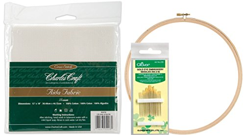 it! DMC Classic Reserve Aida, 12 By 18-inch, White, 14 Count. Along with a Pack of 16 Gold Eye Embroidery Needles (Clover, No. 3-9) with a 10 Inch Wood Embroidery Hoop (Aida Kit)