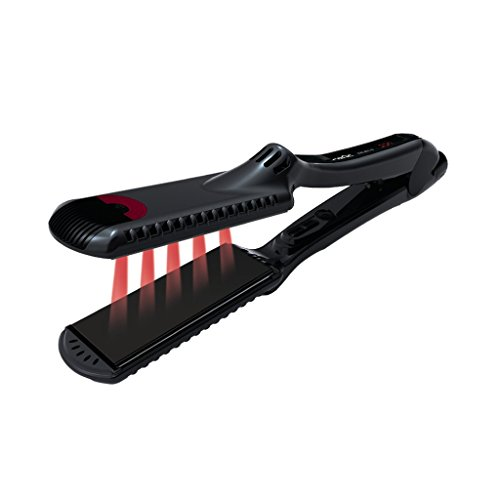 CROC Premium Infrared 1.5 inch Flat Iron Black Titanium Floating Plates, Ceramic Heaters, Ventilation, Digital Settings, and Ergonomic Slipless Comfort Design Straightening Gift Set includes Multiflex