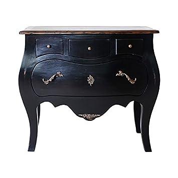 Dubary commode de chambre en bois massif 85 cm - noir et vernis ...