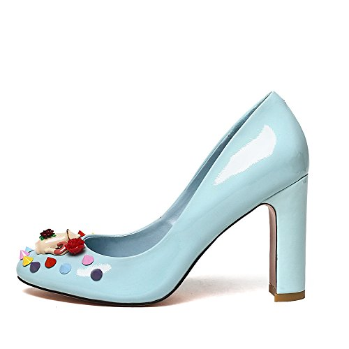 Nine Seven Cuero Moda Puntera Redonda Zapatos de Tacón Grueso con Flores para Mujer Azul