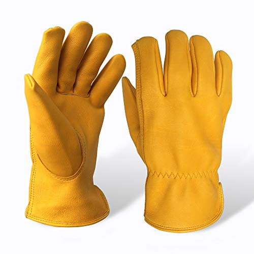 Evridwear Premium Grade Deerskin Full Grain Unlined Leather Gloves, Soft Buckskin Gloves with Open Cuff for Working Driving Gardening, or Industrial 1 Pair, 4 Sizes (M, Yellow -