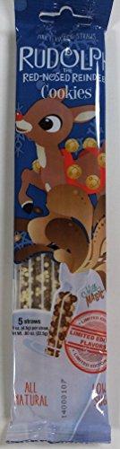 Cookies Milk Flavored Straws, 4 Packs of 5 (Cookie Rudolph)