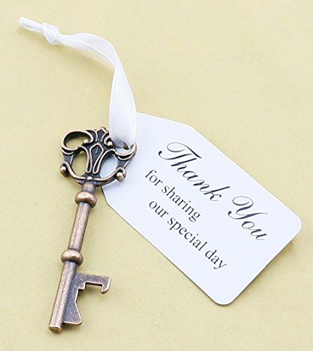 50pcs Wedding Favors Key Bottle Opener with Ribbon Escort Tag Card Thank you for sharing our special day (Key Style #3) (Ribbon Bottle)