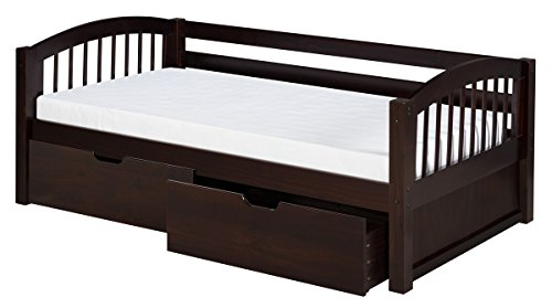 (Camaflexi Arch Spindle Style Solid Wood Daybed with Drawers, Twin, Cappuccino)