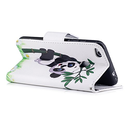 Para Huawei P8 Lite 2017 funda, (Bailarina de mariposas) caja del teléfono de la PU patrón en pintado ,Función de Soporte Billetera con Tapa para Tarjetas soporte para teléfono Panda jugando bambú