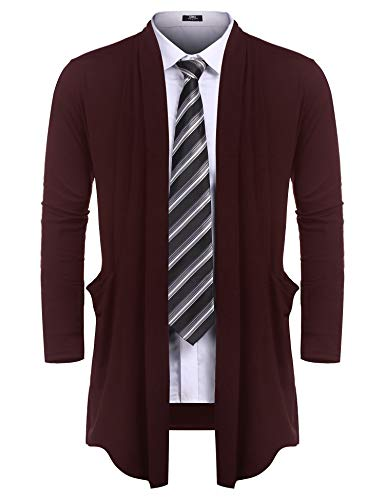 URRU Men's Ruffle Shawl Collar Cardigan Sweater Long Length Overcoat with Pockets Wine Red L
