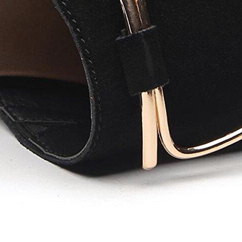 Noir Chaussures Polyuréthane Doigt Été Gommage Femme en Hauts Ouvert Bout Sandales Talons Slope Semelle Décontractées Chaussons Mode wCqSazPTW