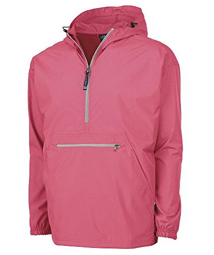 - Charles River Apparel Pack-N-Go Wind & Water-Resistant Pullover (Reg/Ext Sizes), Coral, L