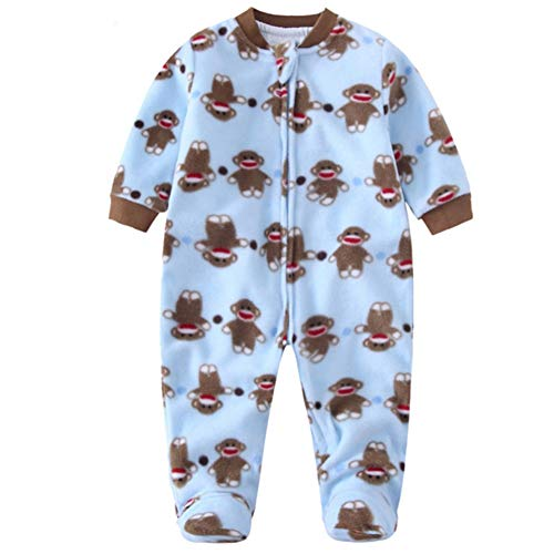 Baby Fleece Footed Onesies Zipper 2-Layer Toddler Warm Outfit Infant Pajamas