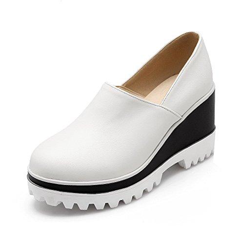 AgooLar Damen PU Hoher Absatz Rund Zehe Rein Ziehen auf Pumps Schuhe Weiß