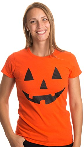 JACK O' LANTERN PUMPKIN Women's T-shirt/Easy Halloween Costume Fun Tee-Orange-Small ()