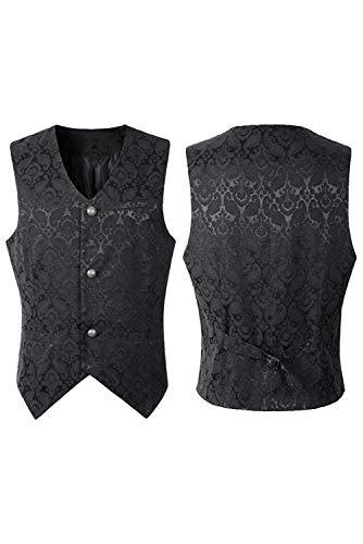 newhui Men's Medieval Single Breasted Jacquard Vest Jacket Jumpers Renaissance Poet's Vest Shirt