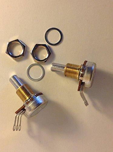 - 2 x Bourns 250KA 6mm Solid Shaft 3/8 US Spec Pots Tele P J Bass Potentiometers