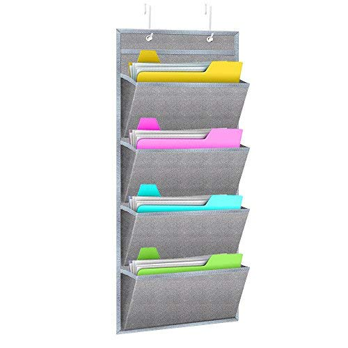 Size Full Office Cabinet - Hanging Wall Organizer,WishAcc Wall Mount/Over The Door Office Supplies Storage Mail Organizer for Notebooks,Planners,File Folders - 4 Pockets Deep Gray