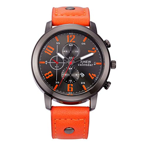 LXMJ Watch Men's Leather Strap Round Dial Stainless Steel Quartz Watch Father's Day/Birthday/Wedding Festival Best Gift Orange
