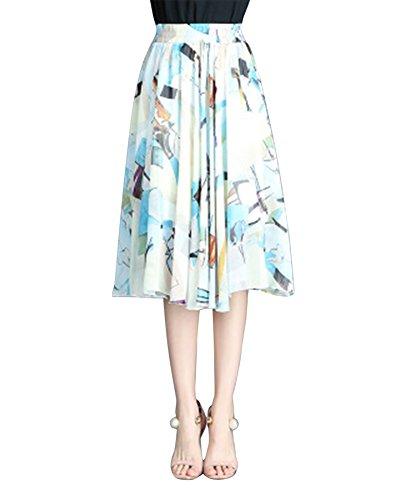 Jupe Longue Femme Bohme Fluide lastique Grande Taille Plisse en Tull imprim Floral Fleur5