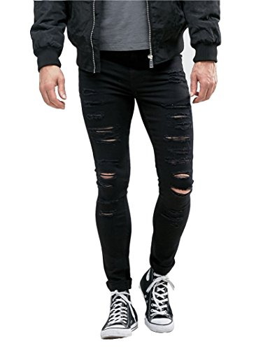 Sarriben Men's Super Skinny Fit Slim Denim Jeans With Rips Distressing Black Pants 32 (36' Relaxed Fit Jeans)