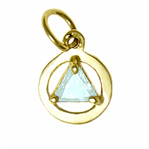 Alcoholics Anonymous AA Tiny Colorful Pendant 14K CZ Soberstone #51 (03 March Lt. Blue)