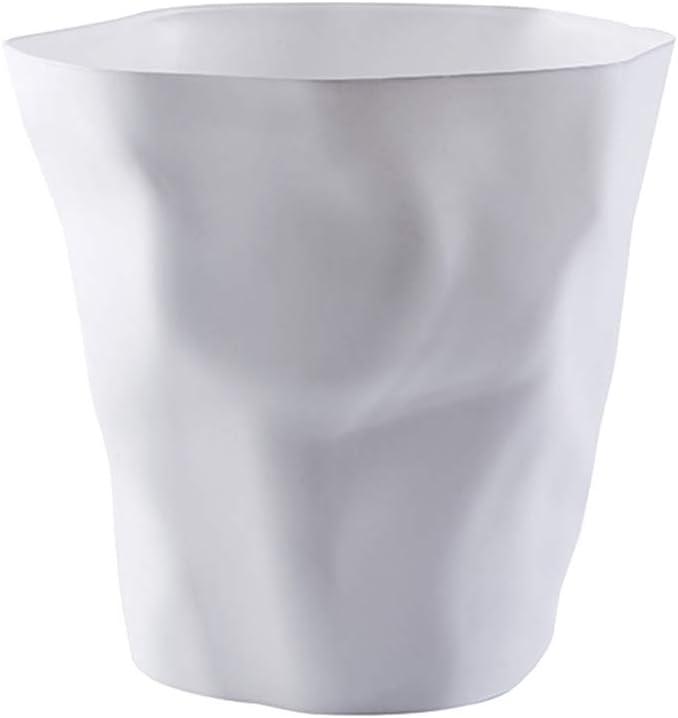 Poubelle Cuisine Design Cr/éatif Wrinkled d/éform/ée Forme Plastique Corbeille /à Papier pour Famille Cuisine Bureau Belle d/écoration Blanc Hosaire