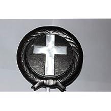 """Christian / Cross / Religious Heavy-Duty 5 1/2"""" Aluminum Memorial Cemetery Grave Marker / Yard Garden Decoration Marker Flag Holder; MADE IN USA. BONUS 30"""" STICK FLAG (Cotton 12X18"""" U.S. Flag)"""