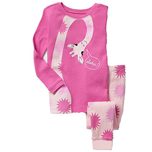 Tkala Girls Pajamas Children Clothes Set Deer 100% Cotton Little Kids Pjs Sleepwear (5T, Pink) -