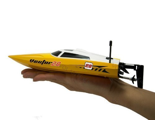 Vector28 2.4Ghz Radio Remote Control Micro High Speed RC Racing Boat Speed Boat RTR (Yellow) by Midea Tech