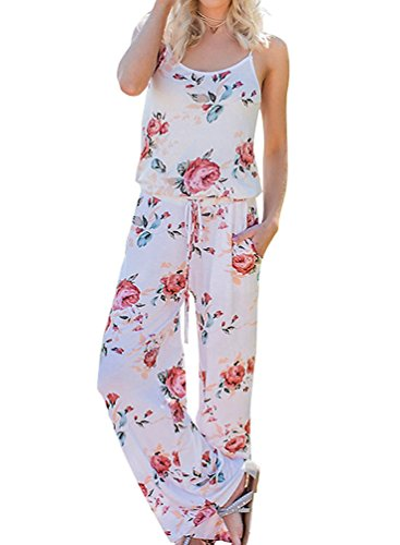 Floral Printed Jumpsuit Women Halter Sleeveless Wide Long Pants Jumpsuit Rompers (L, ()