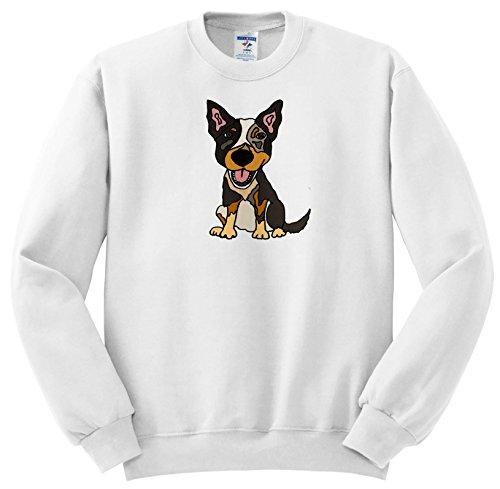 All Smiles Art Pets - Funny Cute Australian Cattle Dog Puppy Cartoon - Sweatshirts - Adult SweatShirt Large (ss_256450_3) ()