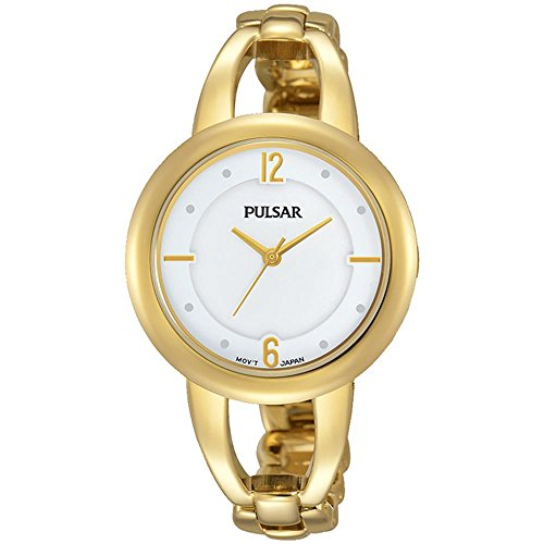 Pulsar Women's 33mm Gold-Tone Steel Bracelet & Case Hardlex Crystal Quartz White Dial Analog Watch PH8206