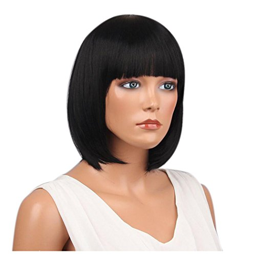 Inkach Short Straight Wigs, Womens Full Bangs Bob Hairstyle Wigs Heat Resistant Synthetic Hair Wig (Black)