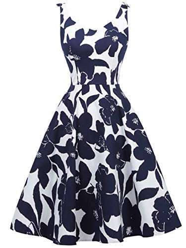 FAIRY COUPLE Women's 1950's Bowknot Vintage Retro Polka Dot Rockabilly Evening Party Swing Dress 2XL White Navy Blue Floral