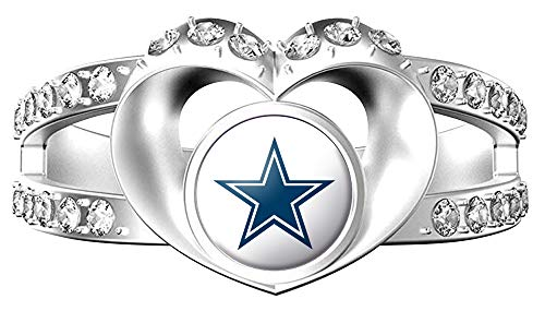 MT-Sports NFL Heart Shaped Lady Ring Lady Exquisite Heart Shaped Ring (Dallas Cowboys, 8)]()