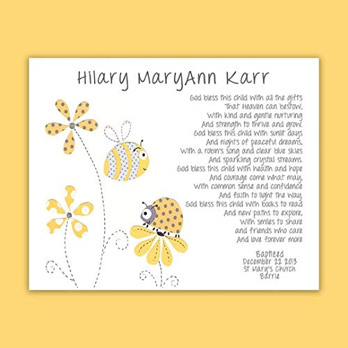 Baby Baptism Gift - Christening Gift for Godchild - Bumble Bee - Lady Bug - Yellow - Gray - Lady Bird - Nursery Art - Baptism Gift from Godparents - PRINT]()
