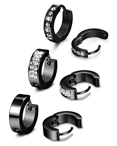 ORAZIO 3 Pairs Stainless Steel Mens Hoop Earrings Set Cubic Zirconia Huggie (Black Silver Hoop)