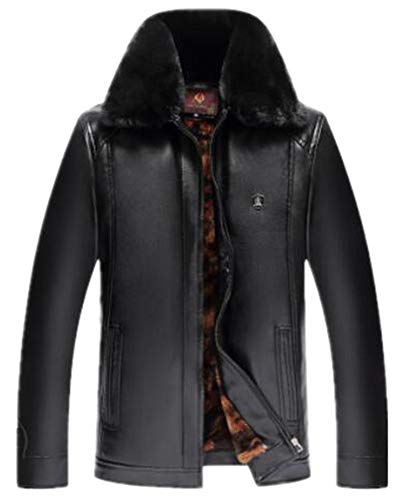 Shu li Middle-Aged Leather Men's Fox Fur Collar Dad Leather Plus Velvet Thick Leather Jacket