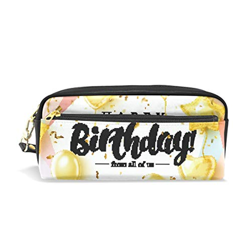 (Happy Birthday Balloon School Pen Case Kids Pencil Holders Large Capacity Pouch Makeup Cosmetic Boxes Office Travel Bag)