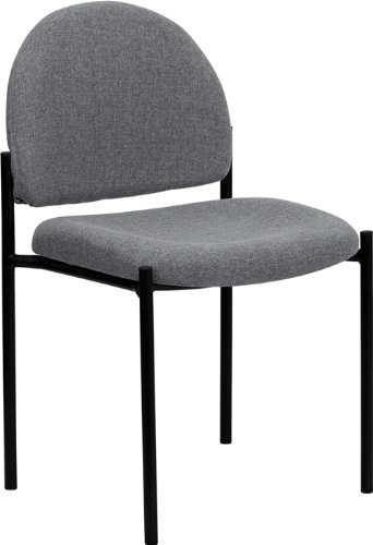 Gray Fabric Comfortable Stackable Steel Side Chair ()