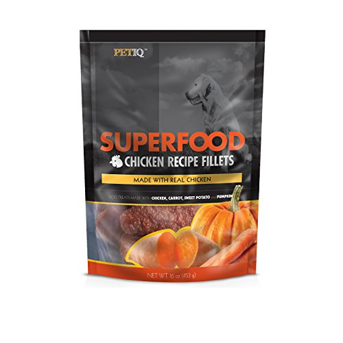 PetIQ Superfood Chicken Recipe Fillets for Dogs - Grain Free Dog Treats, 16oz (Pumpkin Potatoes Sweet)