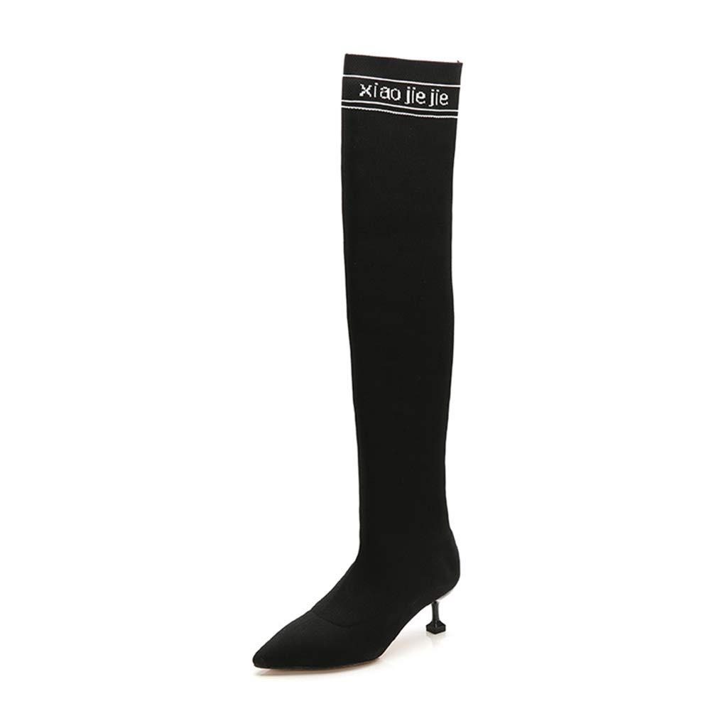 Stiefel Frauen schwarz Knee High Stiefel Keep Warm Pointed Stiletto Stretch Knit Skinny Stiefel (5.5CM 8.5CM)