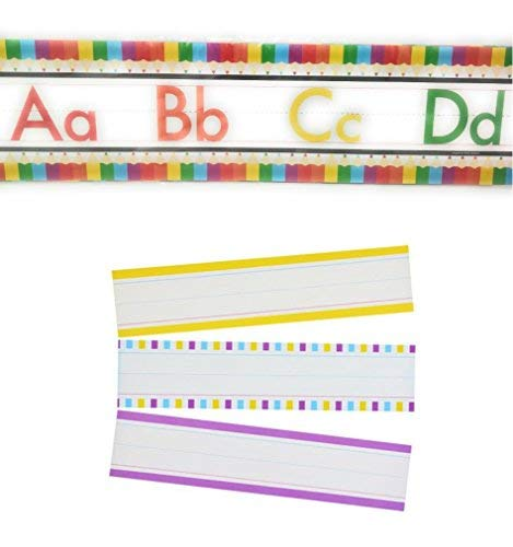 Teaching Tree Manuscript Alphabet Bulletin Back to School Board Set Creative Strips School Office Scholastic Teacher Bulletin Trim Wall Border Decal Classroom Decoration Crayon Strips