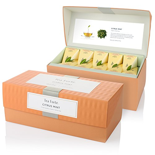 Tea Forte Presentation Box with 20 Handcrafted Pyramid Tea Infusers - Citrus Mint Herbal Tea -  13330