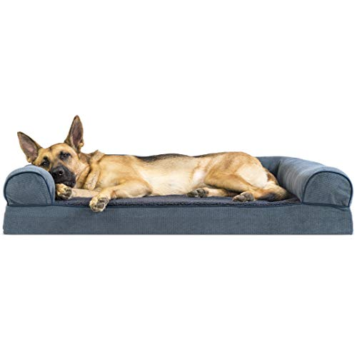 Furhaven Pet Dog Bed | Memory Foam Faux Fleece & Chenille Traditional Sofa-Style Living Room Couch Pet Bed w/ Removable Cover for Dogs & Cats, Orion Blue, Jumbo