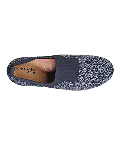 Comfortiva Kvinna Ingefära Tyg Sluten Tå Loafers Peacoat Marinblå