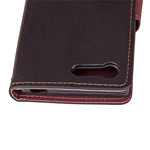 Xperia Flor Xperia Case Wallet Compact Case Flip Mariposa PU para Compact de Funda Multicolor Carcasa ISAKEN Leather Sony para Sony X Standing Cuero Funda Cover Negro con Por Hoja Patrón X Cartera Fundas Cover qwEZZIx4Xz