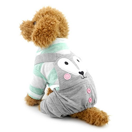 SELMAI Pet Outfits for Small Dog Doggie Fashion Uniform for Boy Puppy Jumpsuit Stripe Clothes Gray M