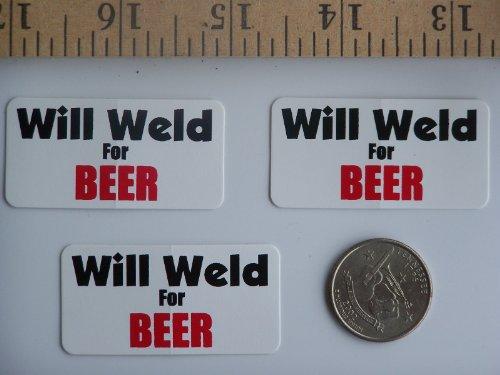 """[해외]3 - 맥주에 대한 용접 윌 하드 모자 헬멧 스티커 1 """"x 2""""/3 - Will Weld For Beer Hard Hat   Helmet Stickers 1\u201d x 2\u201d"""