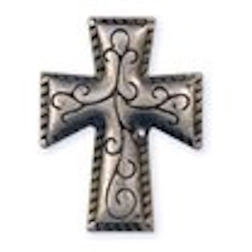 Silver Cross Steel Concho - Cross Concho