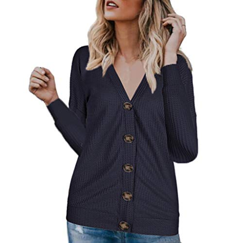 Alangbudu Women V Neck Knitted Big Button Down Blouse Loose Tops Long Sleeve Pullover Casual T Shirt Tunic Thin Sweater Navy