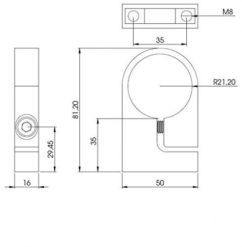 Edelstahl-Spannring f/ür Rohr /ø 42,4mm